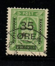 Denmark Sc 81 1912 35 ore overprint on 32 ore green stamp used Free Shipping