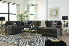 Modern Living Room Furniture - Gray Farbic Sectional Sofa Couch Chaise Set IG3Y