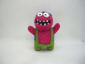 Pink monster handmade needle felted fantasy monster doll toy ooak