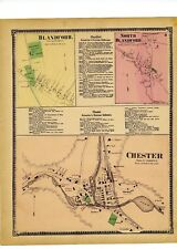 1870 map of Blandford, North Blandford, Chester village, Mass. with family names