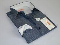 Mens Inserch Linen Shirt Long Sleeves High Quality Summer Cool 24116 Navy blue