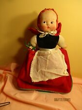 """11"""" vintage cloth Topsy Turvy doll Red riding hood & Wolf"""