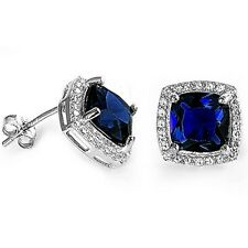 Gorgeous Square Blue Sapphire & White Sapphire Halo Earrings in Sterling Silver