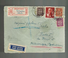 1946 Sacavem Portugal Registered cover to Czechoslovakia Green Wax Seals