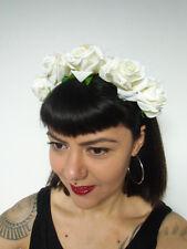Serre-tête couronne de fleurs roses blanches catrina calavera coiffure pinup