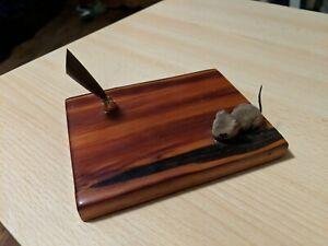 Vintage Varnished Wood Desk Top Pen Holder with Fuzzy Brown Mouse