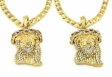 """Jesus Piece Pendant 24"""" Cuban Chain Necklace Gold Plated Iced Out Set of 2 003"""