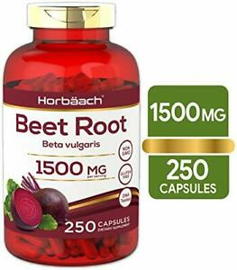 Beet Root Powder 1500 mg Herbal Extract Absorption Supplement 250 Capsules
