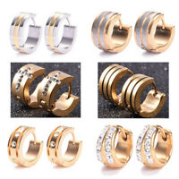 2Pcs  Men's Women Stainless Steel Rhinestone Crystal Huggie Hoop Studs Earrings