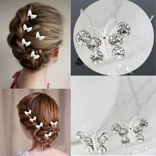 Butterfly Wedding Hair Pins Bridesmaid Crystal Diamante Bridal Hair Clips Grips