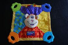 SECURITY Blanket NUBY Orange MONKEY Squeaker Teether Toy Lovey Yellow Blue Toy