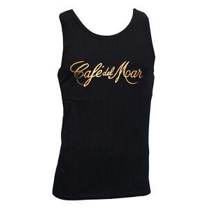 Cafe Del Mar Ibiza Men's Tank Top Gold Logo Black Vest San Antionio Music