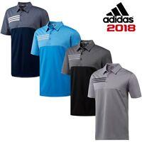 adidas 3 Stripes Heather Blocked Mens Golf Polo Shirt