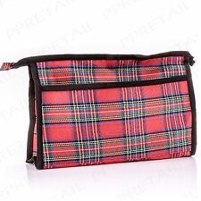 Large Toiletry Bag RED TARTAN Holiday/Travel Vanity Zip Up Waterproof Holder
