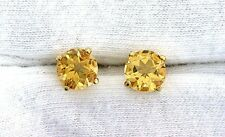 14Kt REAL Yellow Gold 7mm Round Golden Citrine Gemstone Gem Stone Earrings