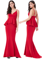 Goddess London Red V Neck Fishtail Peplum Maxi Evening Dress Prom Party Ball