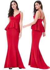 Goddess London Red Cuello en V vestido maxi noche cola de pescado Peplum Baile de graduación Fiesta Baile