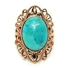 FABULOUS! OVAL CABOCHON TURQUOISE COPPER RING GENUINE* Size 6
