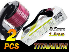 2 x Black (540 Needles) TMT Dermaroller ,Titanium 0.5&1.5mm Hair Loss Cellulite
