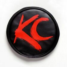 """KC Hilites 5110 6"""" Vinyl Cover Red With Red Brushed KC Logo (Pair)"""