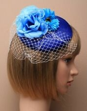 Blue Sinamay Pillbox Fascinator With 3 Tonal Flowers on Beak Clip Wedding