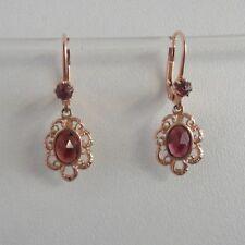 Granat Schmuck Ohrringe Jugendstil Tracht Vintage Silber 925/- rosé vergoldet