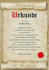 Perlenhochzeit Urkunde Geschenk zum 30. Hochzeitstag Pergament div. Motive