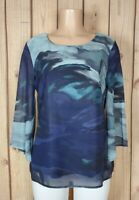 PASSPORTS Womens Size Large 3/4 Sleeve Shirt Abstract Print Poly Top
