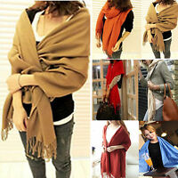 Women Winter Soft Scarf Cashmere Long Shawl Tassel Solid Stole Pashmina Scarves
