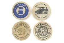 Lot of 4 Vintage Wooden Nickels Tokens Advertising Kinko's, Mt. Pleasant, U.S.