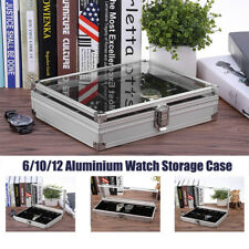 6/10/12 Grids Aluminium Watch Storage Case Glass Jewellery Display Box Organizer