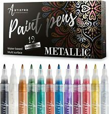 Metallic Paint Pens Set of 12 Acrylic Paint Markers Extra-Fine Tip 0.7mm