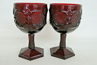 Avon Cape Cod Ruby Red Glass Pair of Wine Water Goblets 1017B