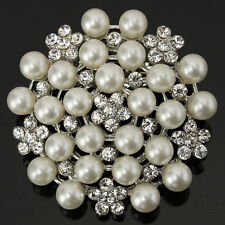 DIAMANTE PEARL & RHINESTONE SILVER TONE CRYSTAL FLOWER ALLOY BROOCH PIN RE E1