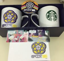 NWT Disney Starbucks Exclusive EPCOT 35th Anniversary Mug 2-Gift Cards & 1 Pin