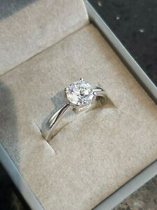 Sterling Silver Solitaire CZ Engagement / Commitment Ring, Size P 1/2 Brand New