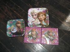 "NEW Lot Disney FROZEN 9"" Plates 7"" Plates & 2 Napkins Birthday Party"