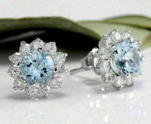 Elegant 925 Silver Aquamarine Wedding Earrings Womens Christmas Jewelry Gifts
