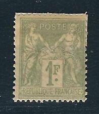 France Scott #84 – 1fr Peace & Commerce – Mint – Selvedge Used as Hinge