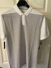 Nike Dry Fit Striped Golf Polo White Medium AT3886-100