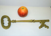 Antique Style Giant Brass Skeleton Key Castle Size Home Decoration 12.5in Long