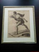 Rarissime grand format gravure à l'antique XIXème Pyrrhus sauvé d'après Poussin
