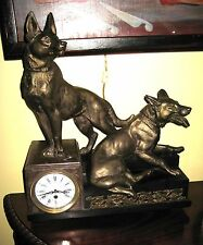 Massive Antique French? Figural Marble & Bronze Clock German Shepherd Dogs