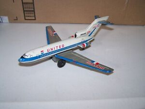 Vintage United Airlines Boeing 727 Jet Plane Japan Tin Friction Toy TT Takara