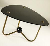 Beistell Tisch Messing & Glas Ablage Nieren Dreiecks Form Design Vintage 50er