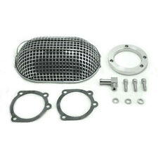 V-Twin Chrome Turbo Oval Mesh Air Cleaner Harley CV Carbs Sportster Dyna Softail