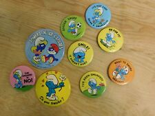 Lot of 9 Vintage Smurf Pinback Buttons