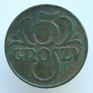1936 Poland 5 Groszy Bronze Coin