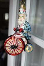 Retired Christopher Radko Uncle Sam Patriotic Bicycle Blown Glass Ornament