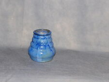 Fulper Pottery Blue Flambe Crystalline Glaze Small Vase Ribbed Body Impress Mark
